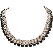 Impressive Rhinestone Necklace, Earrings - Diamante & Black Stones