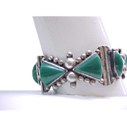 Gorgeous Sterling & Green Onyx Bracelet - Chunky, Signed ACE