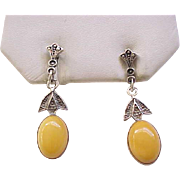 Dangle Earrings Sterling and Baltic Amber