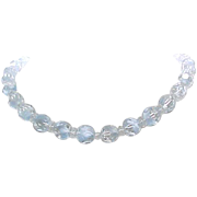 06 - Crystal Necklace Pale Blue Art Glass Beads - Gorgeous Beads
