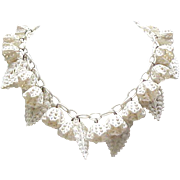 Delightful Celluloid Necklace - Flower Buds, Leaves