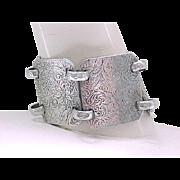 05 - Hammered Aluminum Bracelet - Extra Wide, Floral Design