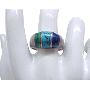 Sterling Ring - Turquoise, Lapis, Malachite - Dome Shaped - Size 12
