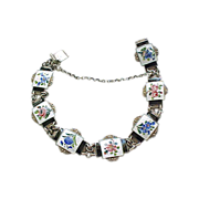 Exquisite Norway Sterling Enamel Bracelet Floral
