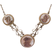 Cameo Necklace, Earrings, Ring - 800 Silver