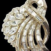 Incredible Crown Trifari Rhinestone Brooch