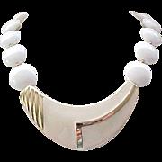 Cream Enamel Trifari Necklace,  Large White Beads