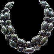 Huge 2 Strand Bakelite Necklace - Green Marbled Beads - Marvella