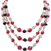 Superb Hattie Carnegie 3 Strand Crystal Necklace, Fab Clasp - Red, Black, Clear