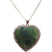 Jade Heart Pendant and Chain - Sterling with Gold Vermeil
