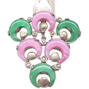 Vintage Dress Clip - Pink, Green Glass Inserts