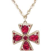 Maltese Cross Pendant Necklace - Gorgeous Ruby Red Rhinestones