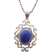 Gorgeous Sterling and Lapis Pendant Necklace, Sterling Chain