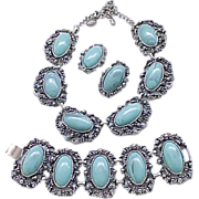 05 - Over the Top Faux Turquoise Necklace, Bracelet, Earrings - Runway