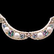 Pretty Necklace Striped Rhinestones, Faux Pearls