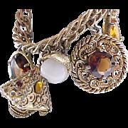 Extra Chunky Goldtone Charm Bracelet with Amber Rhinestones - Napier