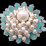 Extraordinary Marvella Brooch - Frosted Aqua Stones, Faux Pearls