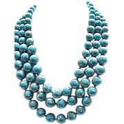 Spectacular Trifari 3 Strand Necklace & Earrings - Beads Look Like Natural Stones