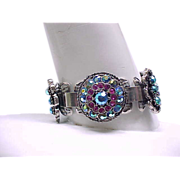 Fantastic Book Chain Bracelet - Hot Pink, Blue Aurora Borealis Rhinestones