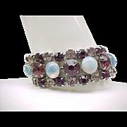 Stunning Rhinestone Bracelet - Purple with Glass Moonstones