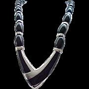 Stylish Black & Silvertone Napier Necklace