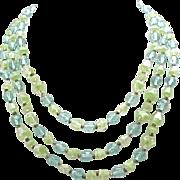 08 - Aqua & Lime Green Art Glass Necklace - 3 Strands of Beads