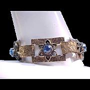 Brass 5 Link Bracelet - Floral Design - Blue Rhinestones