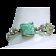 Vintage Czech Bracelet - Green Glass Cabochons - Unusual