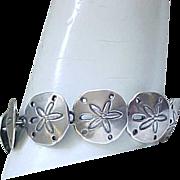 05 - Sterling Silver Sand Dollar Bracelet,  Earrings - Signed JHB