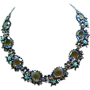 Fabulous ART Necklace, Earrings - Tourmaline Rhinestones, Faux Turquoise