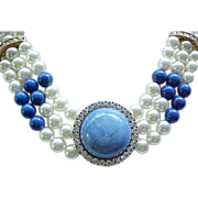 Lovely Faux Pearl Necklace, Earrings Rhinestones, Natural Stone Centers - Blue