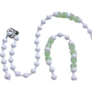 Miriam Haskell Necklace  - White Beads, Pale Green Accents - Wired Clasp