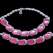 Raspberry Thermoset Necklace & Bracelet - Silvertone Metal