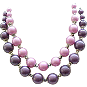 07 - Purple Moonglow Necklace - 2 Strands of Beads