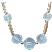 08 - Pale Blue Lucite Necklace,  Earrings