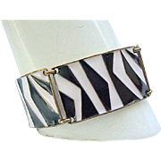 Cool Pink & Black Enamel Bracelet, Earrings - Mid Century