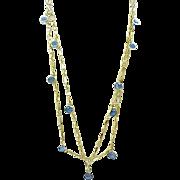 08 - Blue Crystal Necklace, Earrings for Pierced Ears