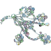 Gorgeous Pastel Rhinestone brooch - Floral Spray