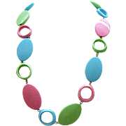 08 - Delightful Summery Necklace - Lime Green, Aqua, Pink