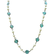 08 - Aqua Crystal & Faux Pearl Necklace - Open Backed, Unfoiled Crystals