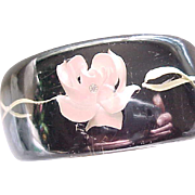 Awesome Reversed Carved Lucite Bracelet Black, Pink Roses