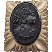 10 - Large Lucite Cameo Brooch