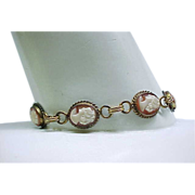 SALE 02 - Cameo Bracelet - Gold Filled with 6 Shell Cameos