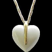 Big Lucite Heart Pendant Trifari - Cream