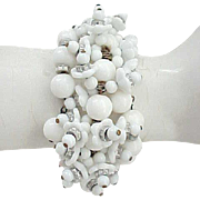 Elaborate Miriam Haskell Coiled Bracelet - Memory Wire - White Glass Flowers
