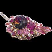 Juliana Pink Leaf Pin with Rivoli and Aurora Borealis Rhinestones