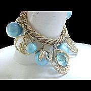 Chunky Charm Bracelet Aqua Rhinestones & Beads - Goldtone