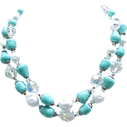 Spectacular Vendome Parure - Necklace, Bracelet, Earrings - Turquoise, White & Crystal