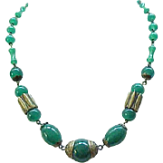 Exquisite Czech 1930's Necklace Green Glass Beads