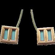 10 - Chunky Matisse Earrings - Copper & Aqua Enamel